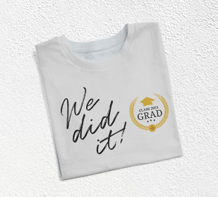 Celebrate the big day with a customized graduation day t-shirt friends and family attending graduation wear the same t-shirt in support of the graduate.