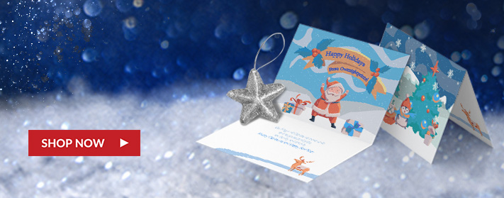 beautiful, open custom holiday greeting card and outside of custom tented holiday card