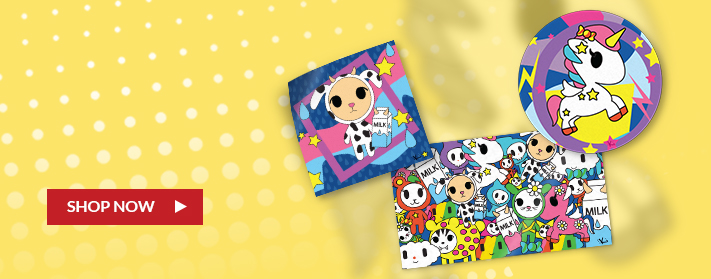 custom colorful anime stickers in circles, squares and rectangles