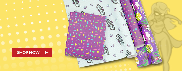 three sets of custom wrapping paper designs