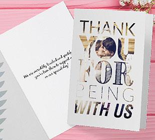 folded custom thank you cards on tabe