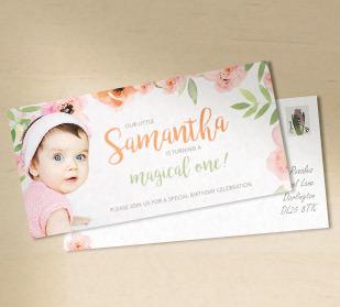 Custom invitation postcards in DIN Long size