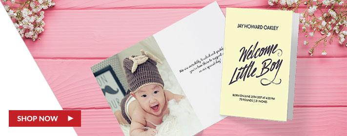 Folded custom baby cards, custom baby photo cards, custom baby cards, custom folded baby greeting cards