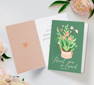 folded custom thank you cards on tabe